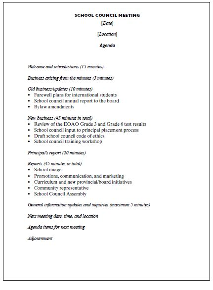 Agenda Outline Template Sles Vlashed School Board Meeting Minutes Template
