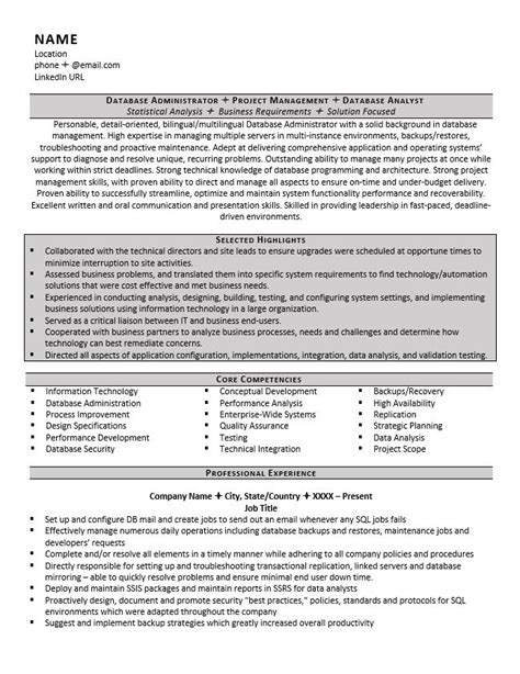 Resume Database Database Administrator Resume Exle And Tips Zipjob