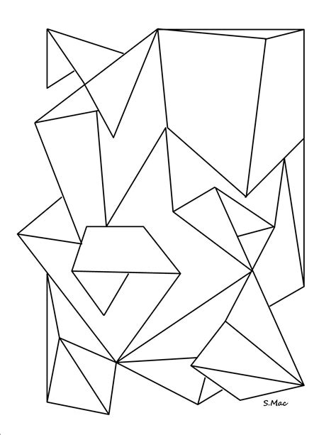 Abstract Geometric Coloring Page | easy geometric coloring coloring pages