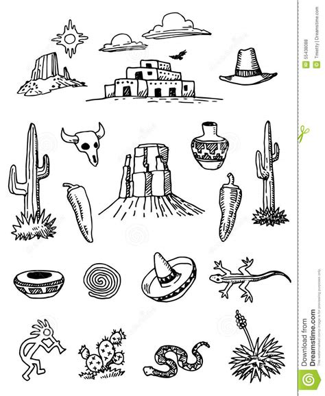 doodle 4 united states desert doodles stock vector image of mesa