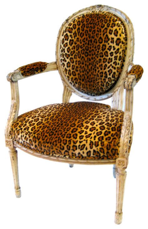 Leopard Accent Chair Louis Xvl Style Fauteuil With Leopard Print Velvet Upholstery Traditional Armchairs And