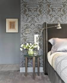 Floral Wall Sconce Gray And Blue Damask Wallpaper Transitional Bedroom