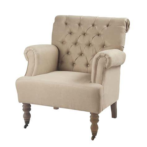 linen armchair linen button armchair augustin maisons du monde