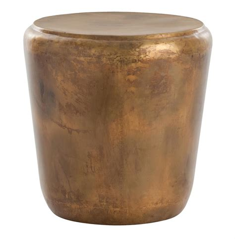 Drum Side Table Santiago Modern Burnished Brass Drum Side End Table Kathy Kuo Home