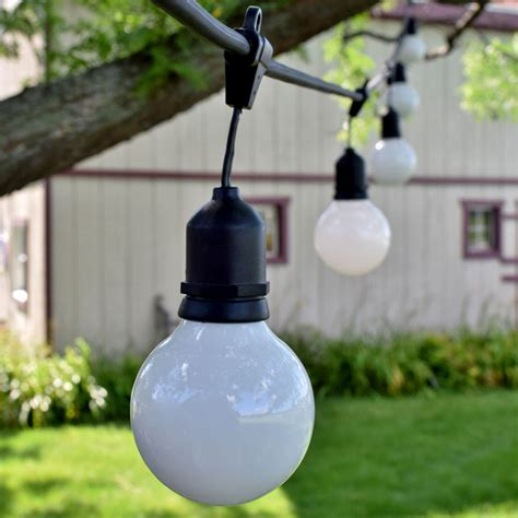 48 Commercial White Globe String Light Kit Black Suspended White Globe String Lights