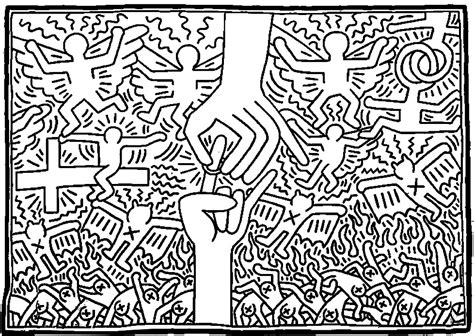 keith haring 3 masterpieces coloring pages for adults