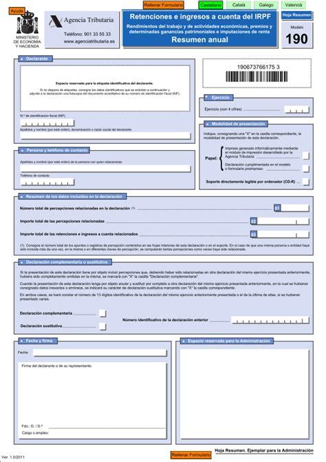 formulario hacienda retencion 191 qu 233 es el modelo 190 y c 243 mo se cumplimenta ayuda de