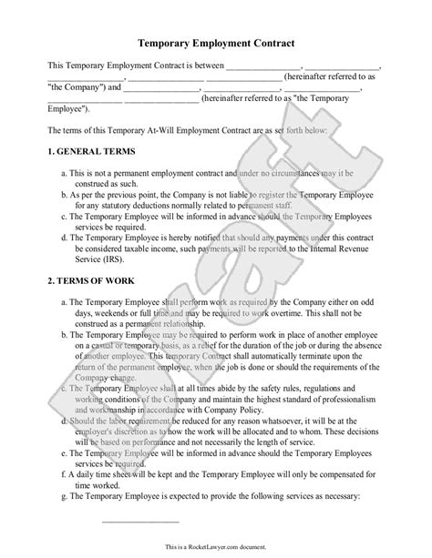 temporary will template sle temporary employment contract form template