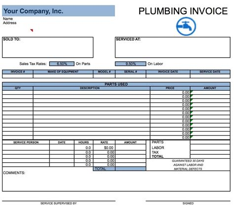 plumbing invoice template free plumbing invoice template excel pdf word doc