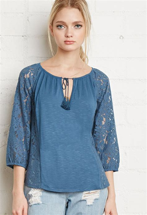 Peasant Blouse floral lace paneled peasant blouse fashion style