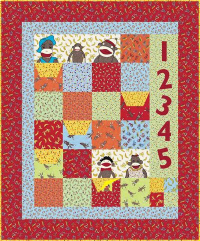 quilted sock pattern of the planet of the sock monkeys craftfoxes