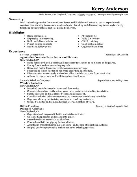 Concrete Worker Cover Letter by Sle Concrete Worker Resume