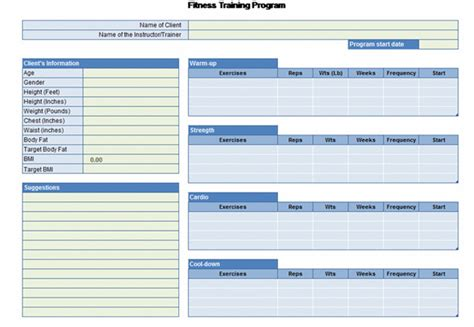 exercise program card template workout chart for excel