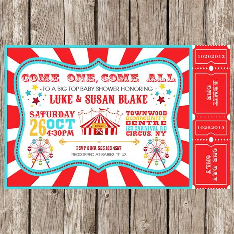 Circus Baby Shower Invitation Templates by Carnival Invitations Invitations Templates