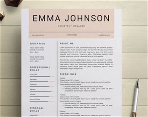Resume Template Etsy by Resume Template Etsy Simple Resume Template