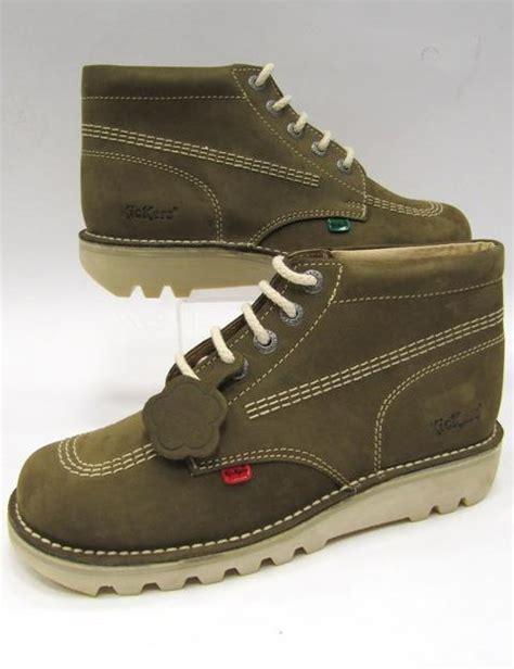 Kickers Nubuck Leather mens kickers green nubuck leather kick hi boots 6 12 ebay