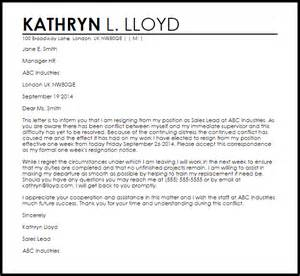 letter of resignation due to conflict livecareer