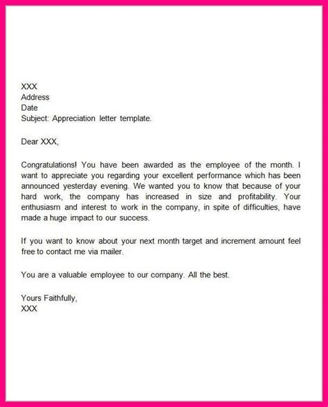 appreciation letter to employee for achieving target words of appreciation for employees sle appreciation