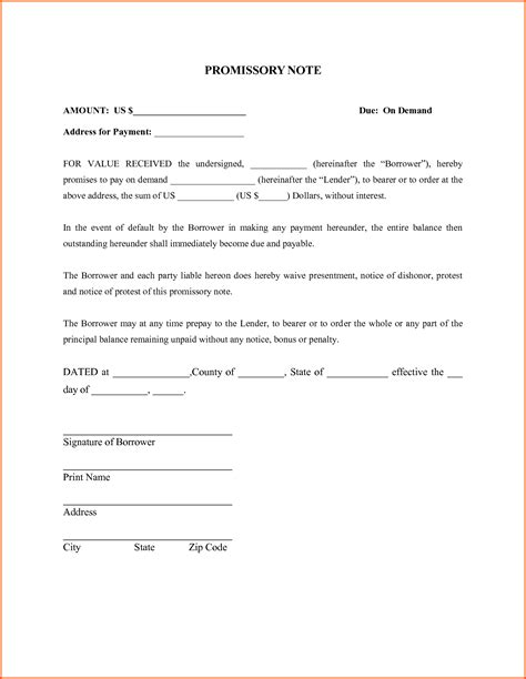 free promissory note template simple promissory note forms ideal vistalist co