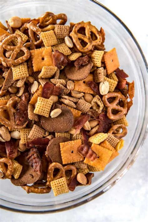 recipe for traditional chex mix smoky bourbon bacon chex mix recipe the crumby kitchen