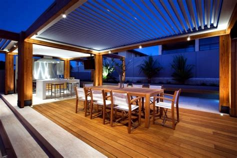 Patio Protection by Patio Aluminum And Wood Roof Provides Visibility And Wind