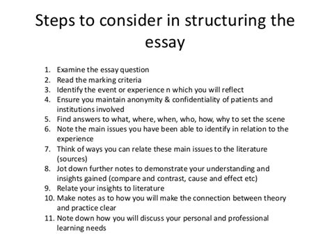 The Steps To Writing An Essay by How To Write A Reflective Essay