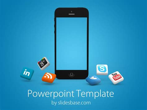 iphone social media powerpoint template slidesbase