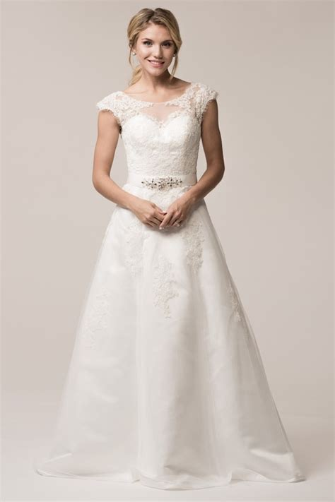 CAP SLEEVE LACE BEADED A LINE GOWN