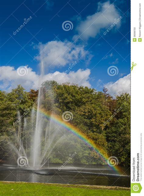 bright as day l a in a pond with a rainbow stock photo image