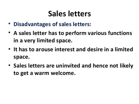 Advantages Of Sales Letter