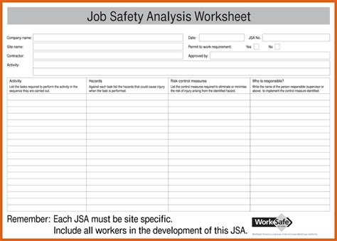 job safety analysis form apa exles