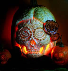 sugar skull pumpkin carving skulls pinterest