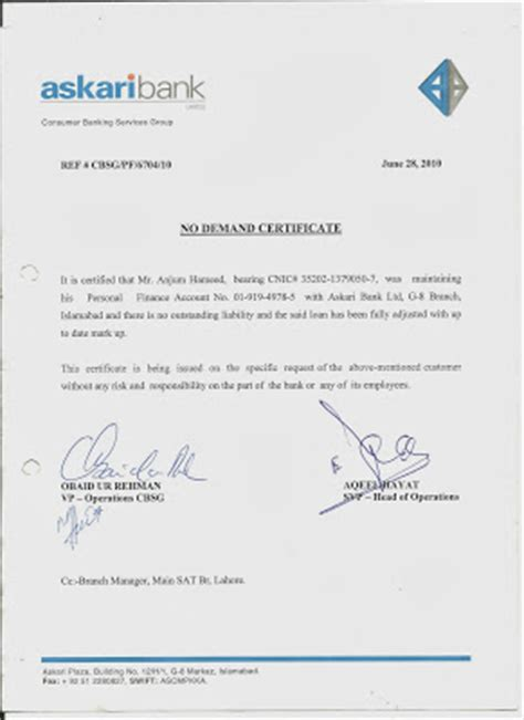 Loan Clearance Letter From Company Demand Certificates Of Deposit