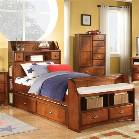 bed with bookcase footboard acme furniture brandon bed with trundle and bookcase