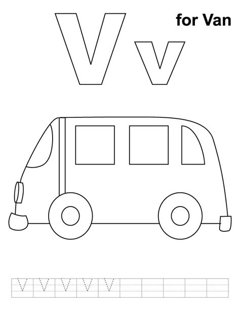 letter v coloring pages preschool van coloring pages for kids for vase coloring page with