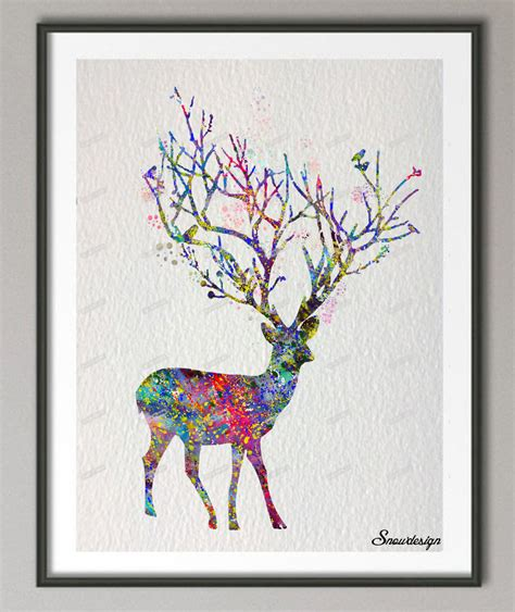 Reindeer Printable Wall Art | aliexpress com buy original reindeer watercolor canvas