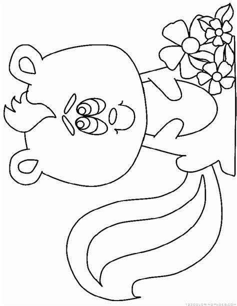 coloring book page of a skunk flower the skunk coloring pages az coloring pages
