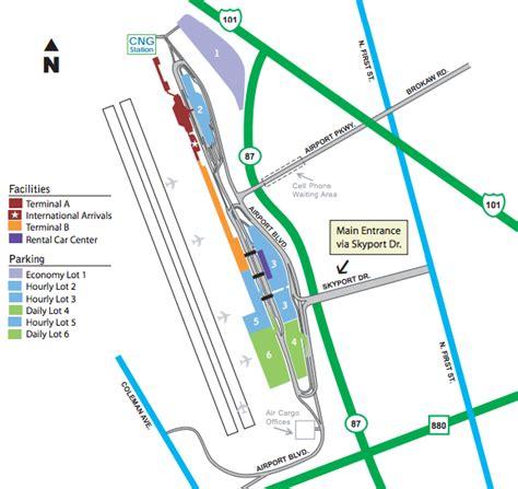 san jose international airport route map san jose airport parking guide find cheap sjc parking