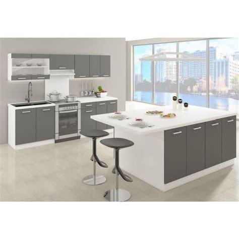 mod鑞e de cuisine avec ilot central ultra ilot de cuisine 2 m gris mat achat vente ilot