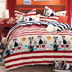 Cat Bed Linen - cat comforter sets kids bedding set anime bed sheets striped bed linen funda nordica comforters