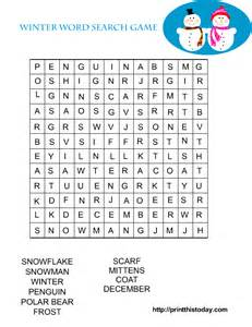 Search game with winter related words which are easy to find hidden