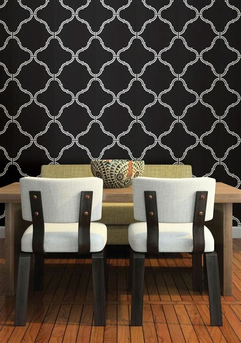wallpaper for feature wall in dining room moroccan wallpaper feature wall dramatic black dining room