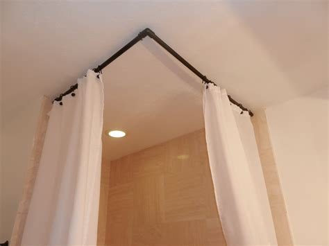 Curtain amazing corner shower curtain rod corner shower rod with ceiling support drapery