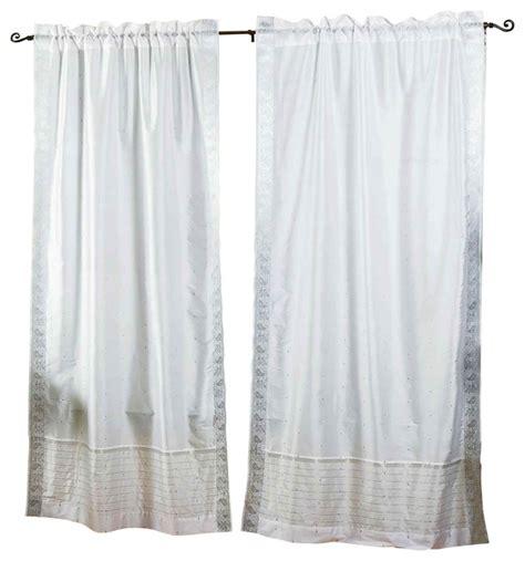 103 inch curtains white silver rod pocket sheer sari curtain drape panel