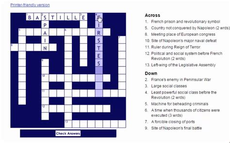 An American Crossword Puzzle Answers Revolution Crossword Puzzle