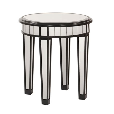 small mirrored accent table round mirrored accent table with 4 legs and black wooden frame for small spaces ideas