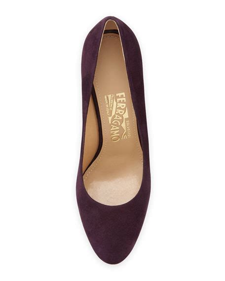 Sepatu Salvatore Ferragamo Wedges 298 2 salvatore ferragamo fiamma suede wedge plum