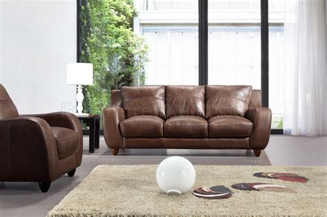 full living room set brown full italian leather modern 3pc living room set