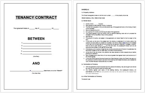 landlord agreement template tenancy contract template microsoft word templates