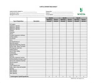 expenditure excel template capital expenditure budget template 6 free word excel